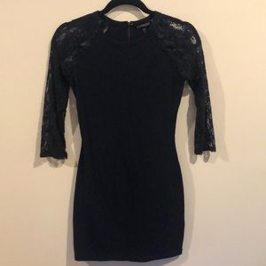 Express Navy Mid Length Dress w/ Lace 3/4 Sleeves